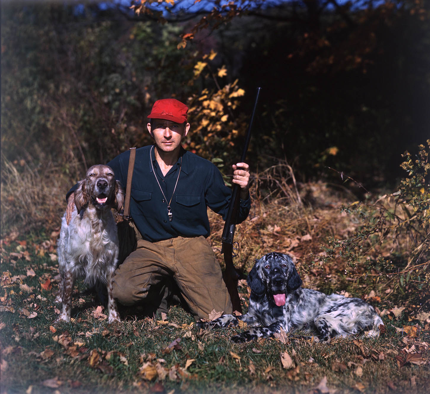 George Bird Evans poses with Blue and Dawn, ca. 1940.