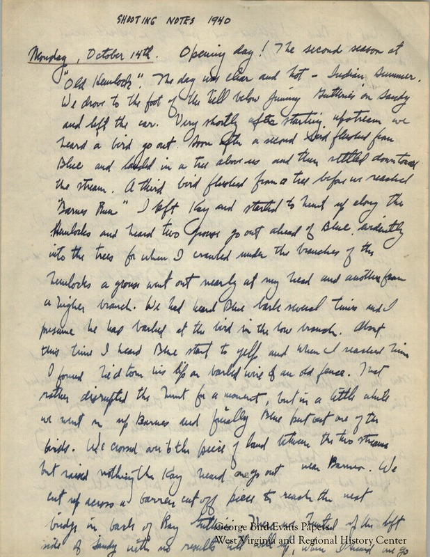 In this journal, George writes of his second hunting season at Old Hemlock. He hunts for grouse and woodcock with his dogs Blue and Grouse along the Pennsylvania and West Virginia state line, and along Muddy Creek and Bruceton Road. He spends time hunting with his wife, Kay, and his neighbors and friends. He writes detailed notes about the weather and terrain.