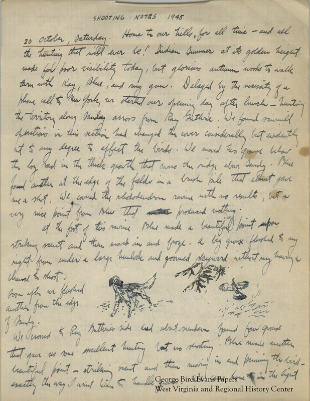 George writes of hunting around Old Hemlock, accompanied by Kay and their dogs, Blue and Dawn. He maintains a corporate job while at Old Hemlock, but finds time to explore above Clifrton, Mason Run, Roaring Creek, Lick Run, Brandonville, and Sandy Creek. He writes of shooting grouse, quail, and woodcock. His notes include small illustrations and notes about the weather and terrain.