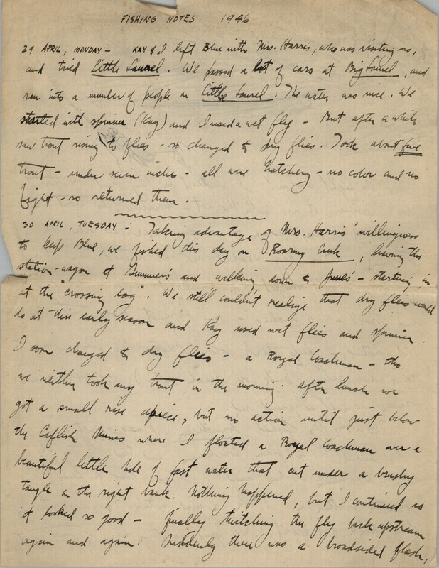 In this journal, George writes of fishing for trout in Little Laurel, Lick Run, and Roaring Creek. He details both spinner and wet fly fishing. Beginning in October, he begins detailing his outings shooting with his dogs Blue, Grouse, and Dawn. He laments that timbering has ruined grouse cover. He visits Brandonville, and mentions that his father is ill. Shooting Notes begin on page 9.