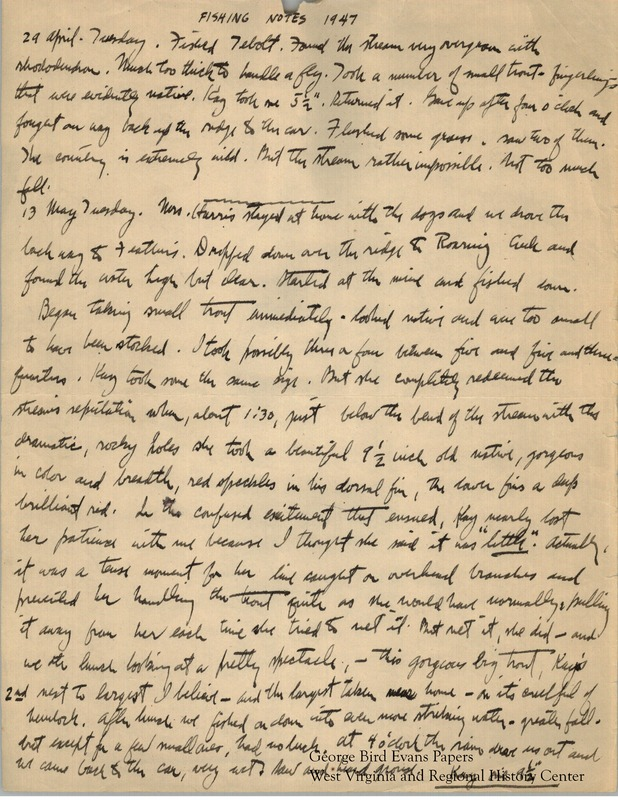 George begins his journal with notes about fishing for trout with Kay in Roaring Creek. Later, in the fall, he details hunting with Kay and his dog, Blue. He is accompanied by a new dog, an Old Hemlock named Ruff, whom he is teaching to fetch grouse. He finds that hunting with two dogs is difficult; the two dogs are jealous of each other. Still, he relates many trips hunting for grouse, woodcock, and quail in Hog House Hollow, Chestnut Ridge, Spikers Ridge, Sandy Creek, Laurel Run, Muddy Creek, Brandonville, and Clifton. He sees deer, and reports on Skipper and Beau, two dogs belonging to others. Ruff, the new dog, points to his first grouse at seven months old, and retrieves his first grouse on Thanksgiving Day. Shooting Notes begin on page 2.