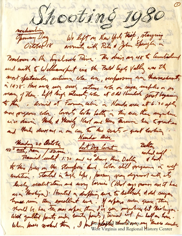 George writes of his outings hunting for grouse and woodcock, noting the date, weather, and location in each entry. Along with their dog Belton, Kay accompanies George on many of his hunts, taking both still photos and video. George nostalgically compares Belton to Briar, praising both dogs highly. He remembers working with Dixie, Briar, and Bliss in various coverts he encounters. Later, he praises the performance of four wheel drives in rough weather and terrain. George hunts for grouse and woodcock in and around Plum Place, Upper Wilderness, Maust, Morrison, White Oak, Hoyes Run, Hartman, Ft. Morris Thorns, Little Sandy, Graveyard Glade, Glover, Frank Wright's Place, Wilkinson's Sawmill, Wilburn, Rattlesnake Hill, English Hill, Rehobeth, Rifle Ridge, park Corner, Ridge Road, and the Bayard Graveyard. He includes tables of hunt statistics for each location.