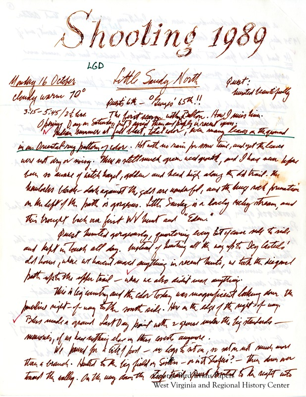 George sadly writes that Belton is gone this season, and he misses him greatly. It is Quest's 6th hunting season, and George's 65th. He and Kay hunt in and around Little Sandy North, Sugar Loaf Mountain, the old Nemacolin Trails Shooting Preserve, the Deer Lake Game lands, Wharton Furnace, Paul Uphold's land, Charles Kelly's land, Ray Guthrie's land, the Bitely place, the McKay place, and Hunting Hills. Later in the season, George expresses concern that he can no longer accurately judge distance. He includes an organized data table of hunt statistics.