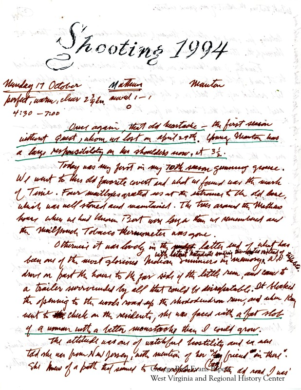 In his 70th hunting season, George Bird Evans only hunts with Manton, as his dog Quest had passed away earlier in the year. He visits hunt locations including the Matthews' land, Canaan Valley, Raven Rock trail, Black Bear Thorns, Rehobeth, Balsam Run, Timberline cabins, Dolly Sods, the Poplar House, Kitzmiller Hill, Pine Creek, McClintock Ridge, and Little Sandy. George is often critical of Manton's hunting, comparing him to past dogs. Though he remarks sadly that many of his old hunting friends had passed away, he still hunts with Paul Matthews and Tom Kotay. Kay takes many photos of his hunts. George includes a couple pages of hunt data.